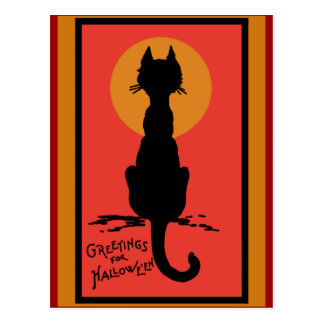 Sophisticated Black Cat Halloween Cards Postcards