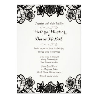 Sophisticated Black Lace Wedding Day Card