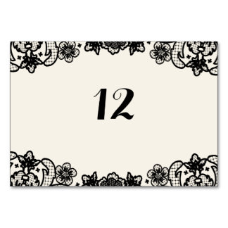 Sophisticated Black Lace Wedding Day Table Numbers Table Card