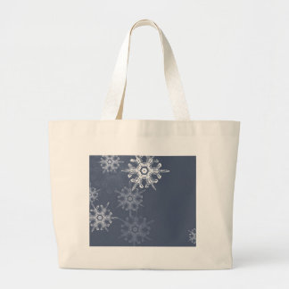 Sophisticated blue/gray snowflakes tote bags