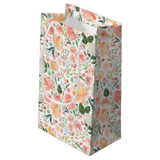 Sophisticated Blush Peach Watercolor Floral Light Small Gift Bag