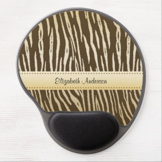 Sophisticated Brown and Gold Tiger Print With Name Gel Mouse Mat