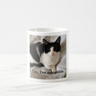 "Sophisticated cat: ""Yes, I'm adorable."" Coffee Mug"