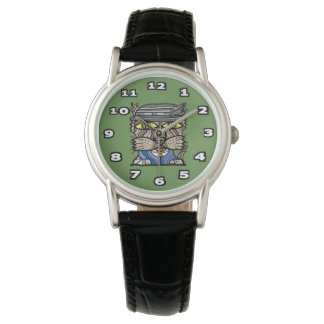 """Sophisticated"" Classic Womens Black Leather Wrist Watch"