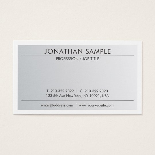 Sophisticated Clean Design Trendy Silver Look Business Card