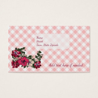 Sophisticated Country with Gingham and Petunias Business Card
