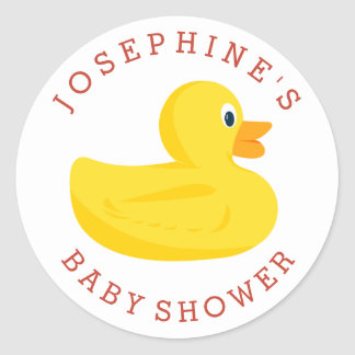 Sophisticated Duck Baby Shower Custom Color Classic Round Sticker