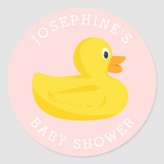 Sophisticated Duck Baby Shower Pink Custom Color Classic Round Sticker