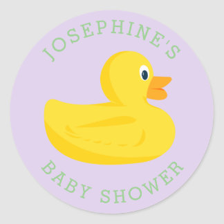 Sophisticated Duck Baby Shower Purple Custom Color Classic Round Sticker