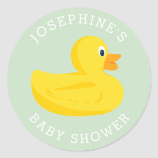 Sophisticated Duck Baby Shower Sage Custom Color Classic Round Sticker