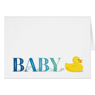 Sophisticated Duck Blue Baby Thank You Note Cards