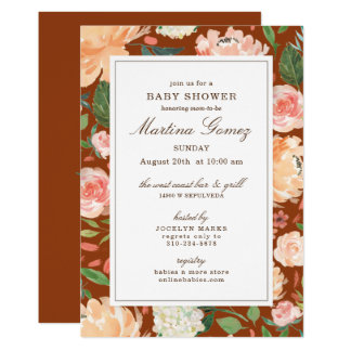 Sophisticated Floral Fall Burnt Sienna Baby Shower Card