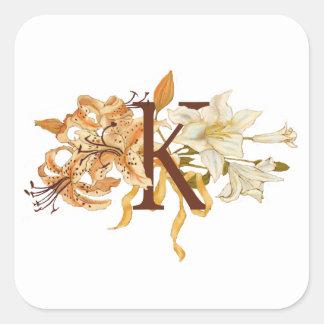 """Sophisticated Floral Letter """"K"""" Monogram Square Sticker"""
