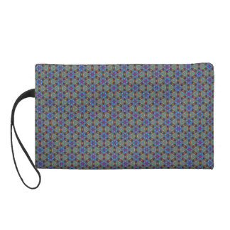 Sophisticated Floral Pattern in Greens and Blues Wristlet Clutches