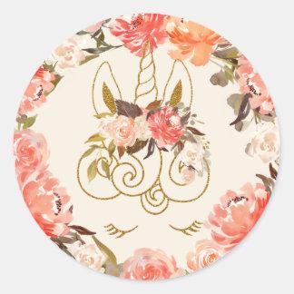 Sophisticated Glittering Unicorn Watercolor Floral Classic Round Sticker