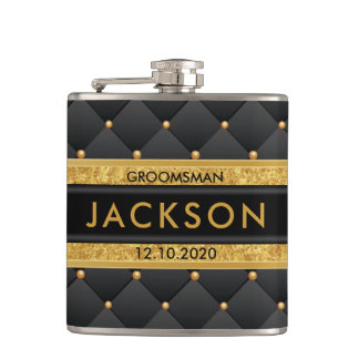 Sophisticated Gold and Black Groomsman / Best Man Hip Flask