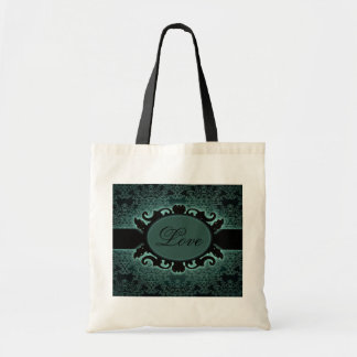 Sophisticated green Damask vintage monogram Budget Tote Bag
