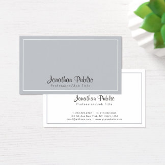 Sophisticated Grey White Modern Chic Design Business Card