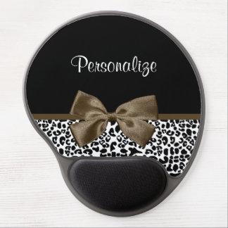 Sophisticated Leopard Print Brown Bow With Name Gel Mouse Pad