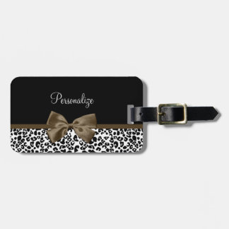 Sophisticated Leopard Print Brown Bow With Name Luggage Tag
