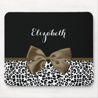 Sophisticated Leopard Print Brown Bow With Name Mouse Pad