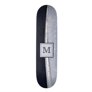 Sophisticated Navy and Silver Feather Monogram 21.6 Cm Skateboard Deck