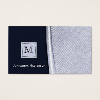 Sophisticated Navy and Silver Feather Monogram Business Card
