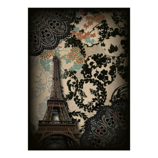 Sophisticated Paris Eiffel Tower Lace damask Poster