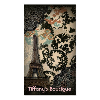 Sophisticated Paris Eiffel Tower Lace fashion Business Card Templates