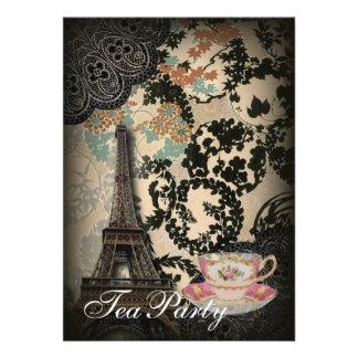 Sophisticated Paris floral Lace vintage tea party Personalized Announcement