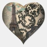 Sophisticated Paris floral Lace vintage wedding Heart Sticker