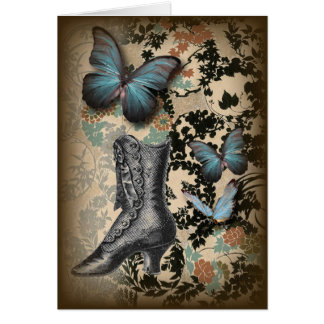 Sophisticated Paris lace shoe butterfly Greeting Card
