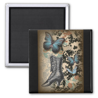 Sophisticated Paris lace shoe butterfly Square Magnet