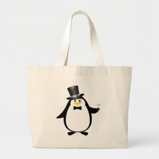 Sophisticated Penguin with Martini Canvas Bag