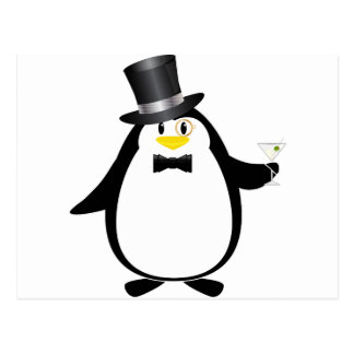 Sophisticated Penguin with Martini Postcard