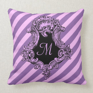 Sophisticated Pink Stripe and Initial Cushion