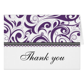 Sophisticated Plum Swirls Thank You Card