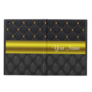 Sophisticated Quilted Black and Gold Case For iPad Air