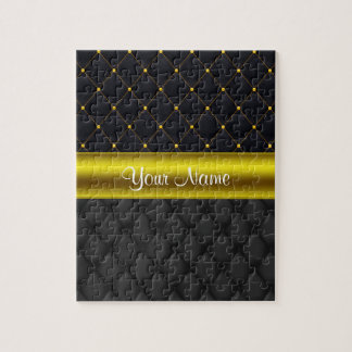 Sophisticated Quilted Black and Gold Jigsaw Puzzle