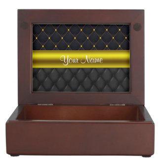 Sophisticated Quilted Black and Gold Keepsake Box
