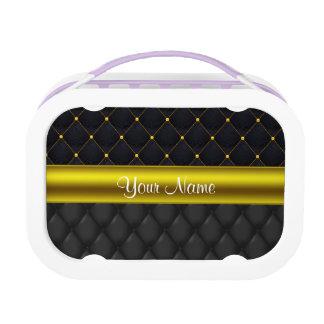 Sophisticated Quilted Black and Gold Lunch Box