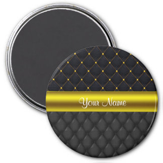 Sophisticated Quilted Black and Gold Magnet