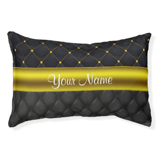 Sophisticated Quilted Black and Gold Pet Bed