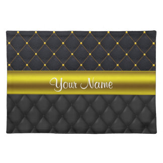 Sophisticated Quilted Black and Gold Placemat