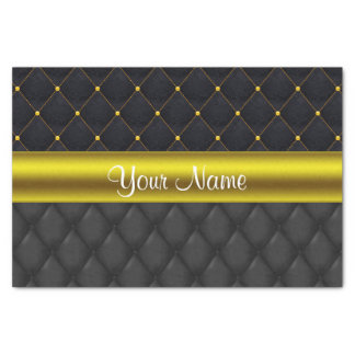 Sophisticated Quilted Black and Gold Tissue Paper