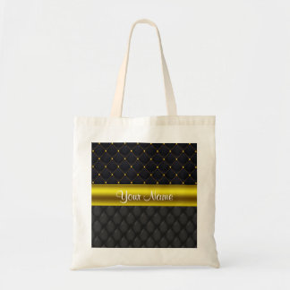 Sophisticated Quilted Black and Gold Tote Bag