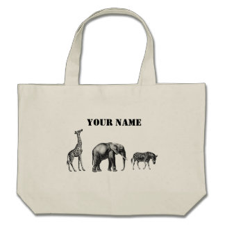Sophisticated Safari, Giraffe, Elephant and Zebra Canvas Bag