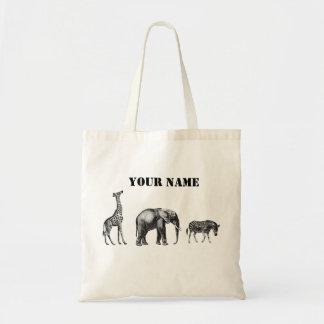 Sophisticated Safari, Giraffe, Elephant and Zebra Budget Tote Bag