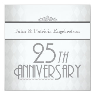 Sophisticated Silver 25th Wedding Anniversary 13 Cm X 13 Cm Square Invitation Card