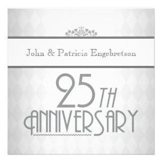 Sophisticated Silver 25th Wedding Anniversary Custom Announcement